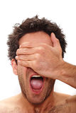 Surprised man. Man with surprised facial expression Stock Image
