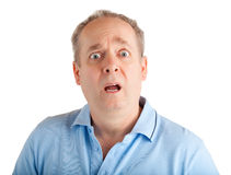 Surprised. A man appears to be surprised about something royalty free stock photos