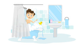 Surprised man in the bathroom. Stock Images