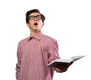 Surprised man with a book Royalty Free Stock Photography