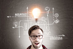Surprised man, bulb and business idea Royalty Free Stock Photo