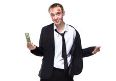 Surprised man with dollars in kisses. Isolated photo of people with white background stock photos