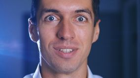 Surprised man face. Close up of shocked businessman face expression. Wow male emotion portrait. Surprised man face. Close-up of shocked businessman face stock footage