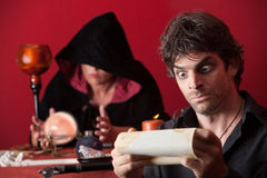 Surprised Man with Fortuneteller Stock Photography
