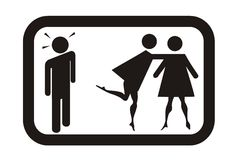Surprised man, girls fight. Sign surprised man, girls fight Royalty Free Stock Images
