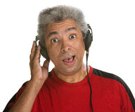 Surprised Man with Headphones Stock Photos
