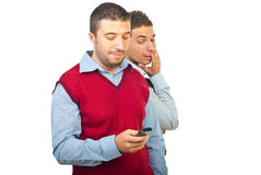 Surprised man about his friend text message Royalty Free Stock Photo