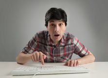 Surprised man with keyboard Stock Photo