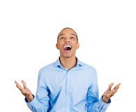 Surprised man looking up Stock Image