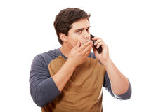 Surprised man with mobile phone. Stock Image