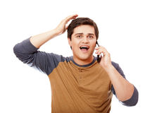 Surprised man with mobile phone. Stock Photography