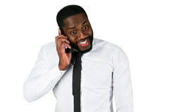 Surprised man on the phone. Royalty Free Stock Photography