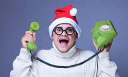 Surprised man with phone Royalty Free Stock Images