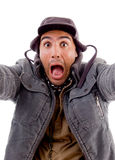 Surprised man posing in front of camera Royalty Free Stock Photography
