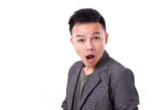 Surprised man's emotion expression. Stunned, surprised man's emotion expression Royalty Free Stock Photos