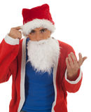 Surprised man in Santa clothes Royalty Free Stock Image