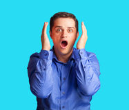 Surprised man in shirt Royalty Free Stock Image