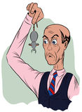 Surprised man in a tie, holds the tail of a mouse Royalty Free Stock Photo