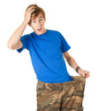 Surprised man in too great camouflage trousers Royalty Free Stock Photography