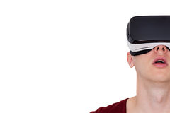 Surprised man using smart glasses front view Royalty Free Stock Photography