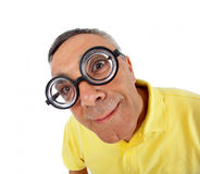 Surprised man with WOW expression. Surprised man with WOW expression on white backgound royalty free stock image
