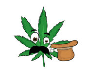 Surprised marihuana cartoon Royalty Free Stock Photography
