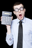 Surprised Mathematical Man With Financial Solution Royalty Free Stock Photos