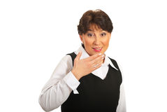 Surprised mature business woman Royalty Free Stock Photos