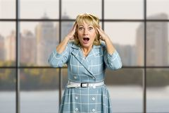 Surprised mature woman open mouth. Amazed white-skin lady hold hands on head with open mouth on office window background. Facial expressions and body language Royalty Free Stock Photos