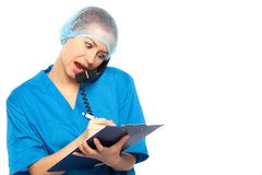 Surprised medical doctor yells Stock Photos