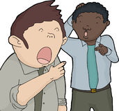 Surprised Men Pointing Fingers Stock Image
