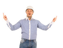 Surprised Middle Age Engineer Looking at Camera Stock Photography