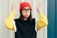 Free Surprised Millennial Hipster Girl Feeling Mind Blown Stock Image - 194179851