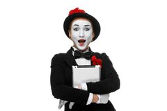 Surprised mime isolated on white background Stock Image