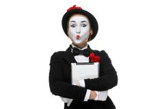 Surprised mime isolated on white background Stock Images