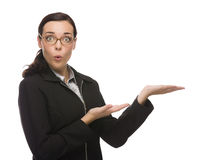 Surprised Mixed Race Businesswoman Gesturing with Hand to the Si Stock Photo