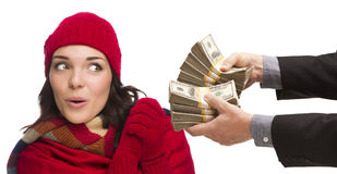 Surprised Mixed Race Young Woman Being Handed Thousands of Dollars Royalty Free Stock Image