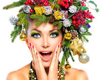 Surprised model with Christmas makeup. Surprised model with Christmas holiday makeup Stock Photography