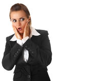 Surprised modern business woman isolated Royalty Free Stock Images
