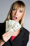 Surprised Money Businesswoman Royalty Free Stock Images