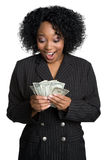 Surprised Money Woman. Surprised black business money woman Royalty Free Stock Image