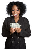 Surprised Money Woman. Surprised african american money woman Royalty Free Stock Photos