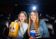 Surprised Mother And Daughter Watching Film Royalty Free Stock Photo