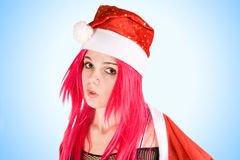 Surprised mrs. Santa royalty free stock images