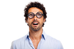 Surprised nerd isolated on white Royalty Free Stock Image