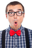 Surprised nerd man face. Close up of surprised nerd man, isolated on white background stock photos