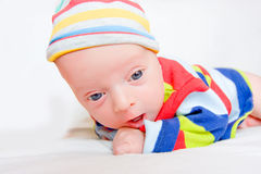Surprised Newborn Baby Stock Photo