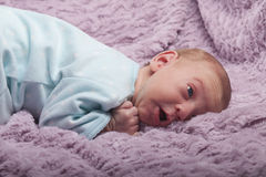 Surprised newborn baby looking up Royalty Free Stock Photo