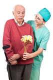 Surprised old man patient Stock Images