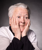 Surprised old woman Stock Photo